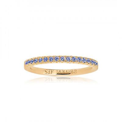 Sif Jakobs - Fingerring i forgyldt sølv med blå zirkoner fra smykkeserien Ellera