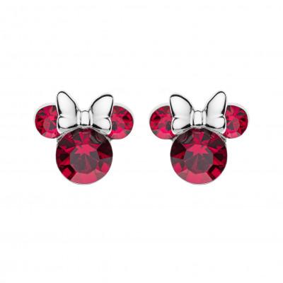 Disney sølvøreringe - Minnie Mouse med røde zirkoner (11/20)