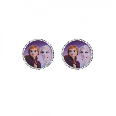 Disney sølvøreringe - Frozen - Cirkel med Anna og Elsa (11/20)
