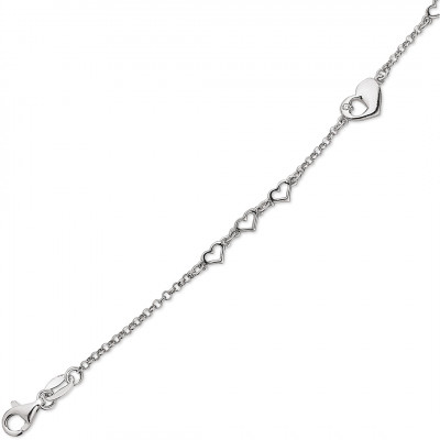 Sølv armbånd - kæde med hjerter (01/21)