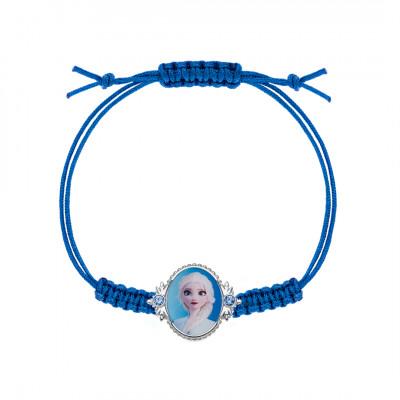 Disney Frost - Armbånd med Anna og Elsa på blå snor (06/21)