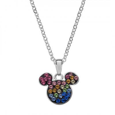 Disney sølvhalskæde - Mickey Mouse med sten i forskellige farver (11/20)
