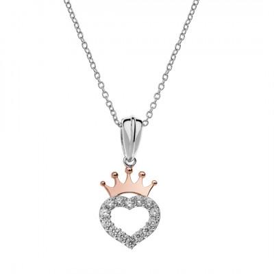 Disney Princess halskæde i 925 sølv - Hjerte med prinsessekrone (11/20)