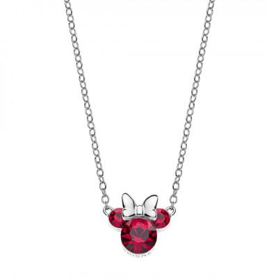 Disney sølvhalskæde - Minnie Mouse Røde sten hvid sløjfe (11/20)