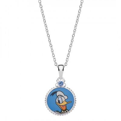 Disney sølv halskæde - cirkel med Anders And (06/21)
