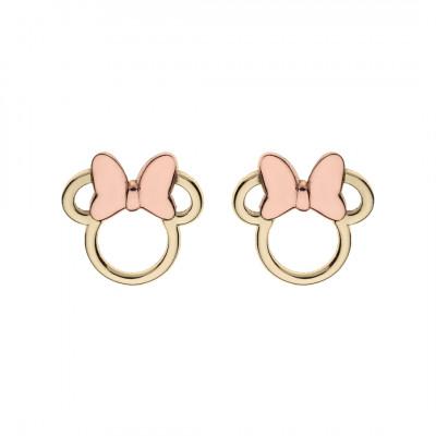 Disney øreringe i 9 karat guld - Minnie med pink sløjfe (11/20)