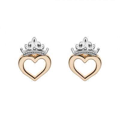Disney Princess øreringe i 9 karat guld - Hjerte med prinsessekrone (11/20)