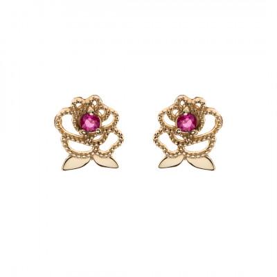 Disney øreringe 9 karat guld rose med rubin (06/21)
