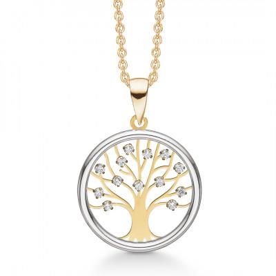 Halssmykke - Livets træ i 8 karat guld med zirconia(11/20)