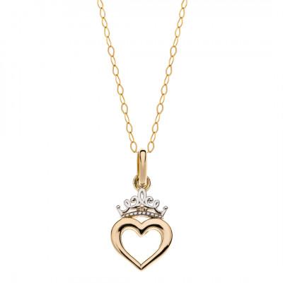 Disney Princess halssmykke i 9 karat guld- Hjerte med prinsessekrone (11/20)