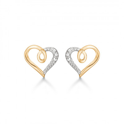 Guld ørestikkere - Hjerte med zirconia (01/21)