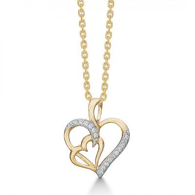 Halskæde med hjerte vedhæng i 14 karat guld (01/21)