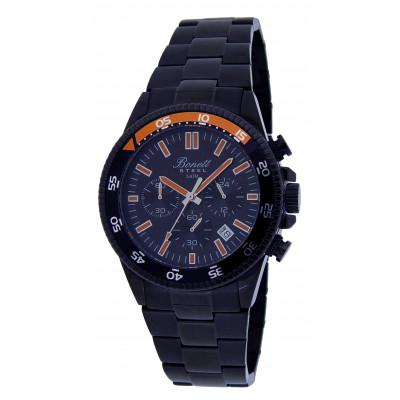 Bonett  - Herreur - chronograf i sort med lænke