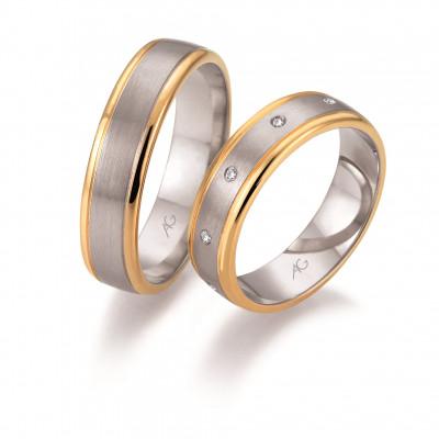 Vielsesringe 2 farvet i 14 karat alm. guld og hvidguld fra Gerstner 28656  (X41) Nov 17