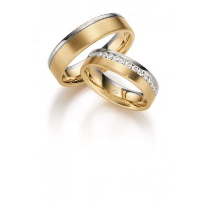 Vielsesringe 14 karat 2 farvet alm guld og hvidguld fra Gerstner 28623 (X38) 08/19