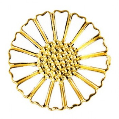Lund Marguerit - Broche 18 mm forgyldt