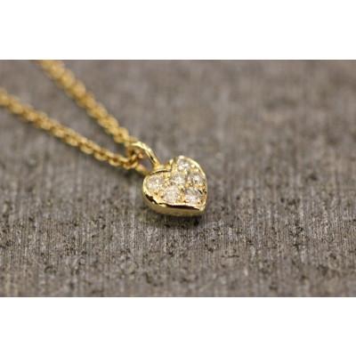 Hjerte med pavefattede brillanter i 14 karat guld