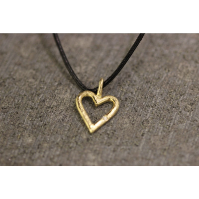 Hjerte med brillant i 14 karat guld