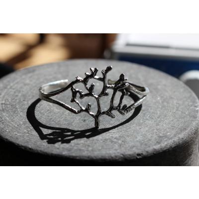 Livets træ armring i oxideret sølv
