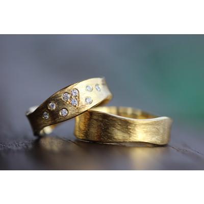 Vielsesringe MG 7 Rustik i 14 karat guld med 9 sten (Parpriser se billede) (10/19)