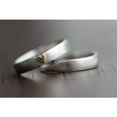 Min Vielsesring i sølv med guld hjerte (Parpriser se billede)