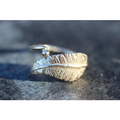 Ring - Fjer i guld 14 karat