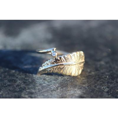 Ring - Fjer i guld 14 karat med brillant