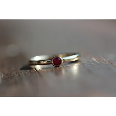 Ring med pink turmalin 0,15 ct i 14 karat guld