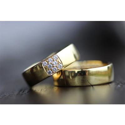 Vielsesringe MG 0 / 6 mm bred pave fatning i 8 karat guld (Parpriser se billede)