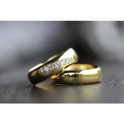 Vielsesringe MG3 / 6,0 mm 7 stk brillanter 8 karat guld (Parpriser se billede) (10/19)