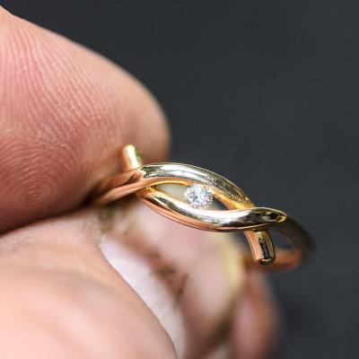 Ring med brillant i 14 karat alm guld (01/20)