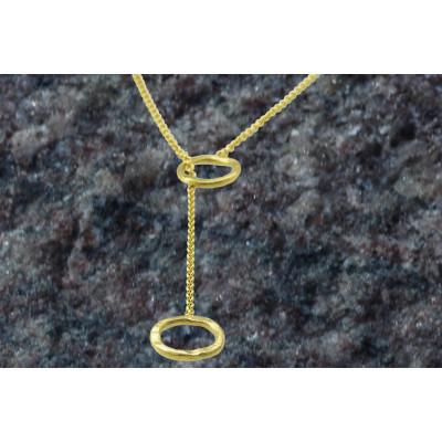 Rustik Y-kæde med 2 ringe i 14 karat guld