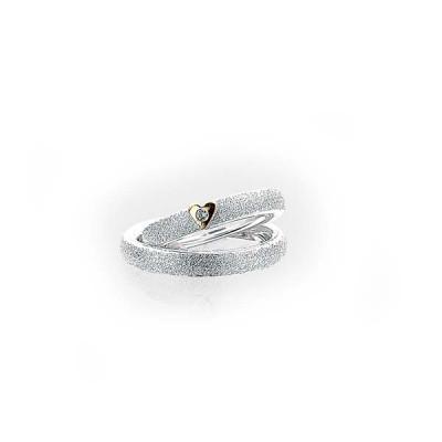 Hjerteringe i sølv med guldhjerte