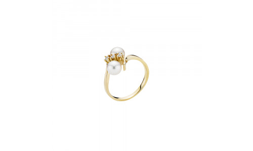 Lund Copenhagen - Fingerring i guld med brillanter og perler