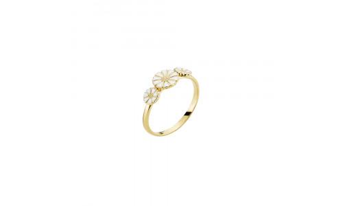Lund Marguerit - Ring i forgyldt eller rhodineret sølv