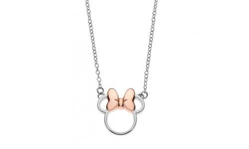 Disney sølvhalskæde - Minnie Mouse pink sløjfe (11/20)