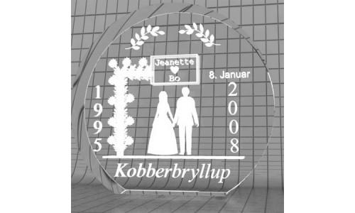 Lasergraveret glas Bryllupsdag str. Large