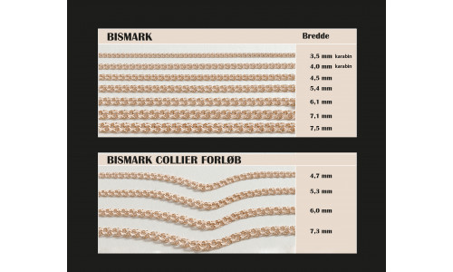 Guldkæder Bismark i 8 karat i  ligeløb eller forløb