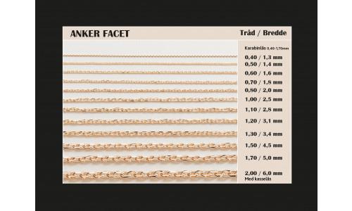 Guldkæder Anker facet i 8 karat guld (08/20)