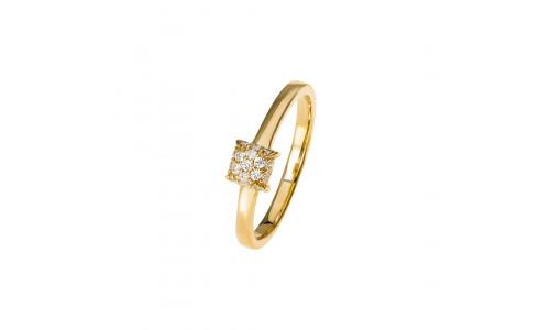 Paveret ring i 14 karat guld