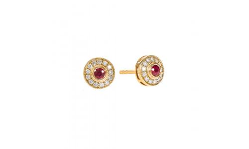 Roset brillant ørestikker i 14 karat guld med rubin og brillanter (08/20) - Hive
