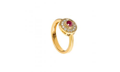 Roset brillantring i 14 karat guld med rubin og brillanter (08/20) - Hive