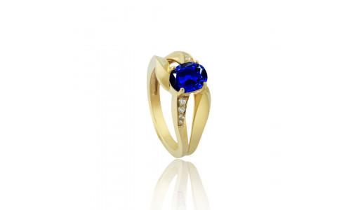 Fingerring i 14 karat guld med brillanter og enten Smaragd, Safir, Rubin (09/20)