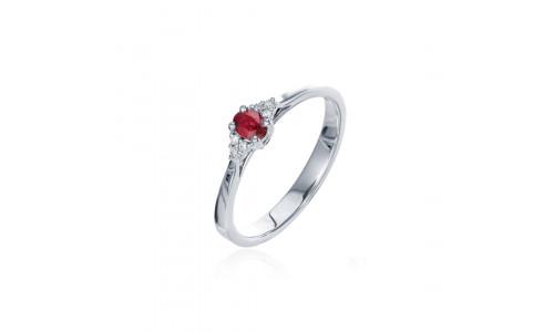Fingerring i 14 karat guld med rubin og brillanter (08/20)