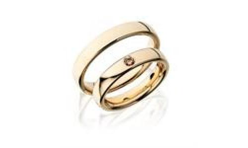 Vielsesringe i 8 karat guld Pure Naturfarvet 1 x Sten