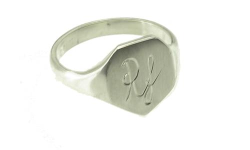 Herre signet ring kantet i sølv