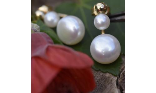 Håndlavede øreringe i 14 karat alm guld og ferskvandsperler (11-20) 626745