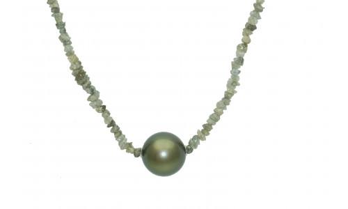 Vedhæng rå-diamantkæde med tahiti perle