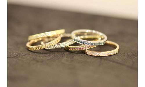 Mini Alliancering i 14 karat guld isat 8 til 21 sten stk brillanter TW.Si  (01/20)